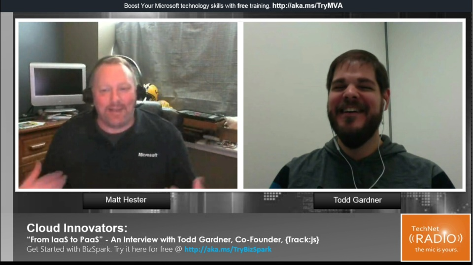 "TechNet Radio: Cloud Innovators - ""From IaaS to PaaS"" An Interview with Todd Gardner, Track:js"