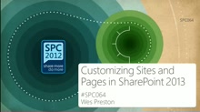 Customizing Sites and Pages in SharePoint 2013