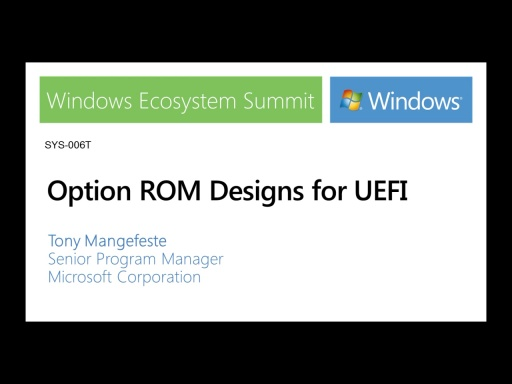 Option ROM designs for UEFI