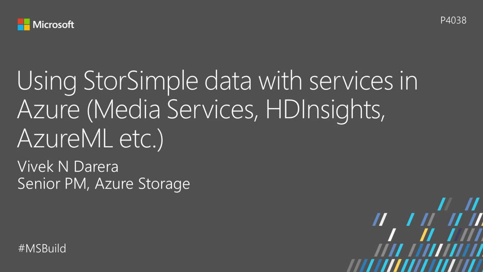 Using StorSimple data with services in Azure (Media Services, HDInsights, AzureML, etc.)