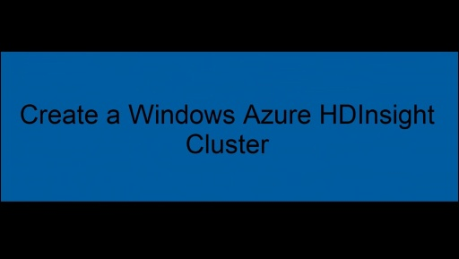 Create a cluster with Windows Azure HDInsight Service (video)