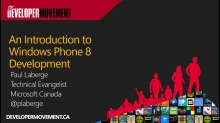 An Introduction to Windows Phone 8 Development