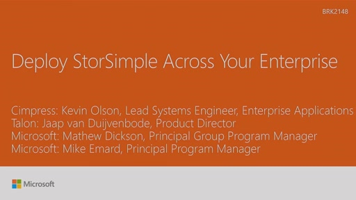 Deploy Microsoft Azure StorSimple across your enterprise