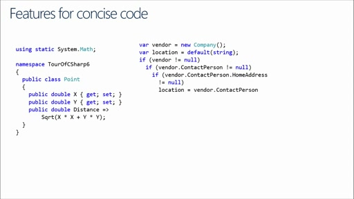 Developer Productivity: What's New in C# 6: (01) C# Productivity, Conciseness