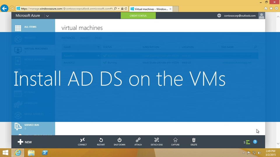 Install Active Directory Domain Services on the VMs