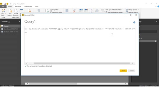 Pass parameter to SQL Queries statement using Power BI