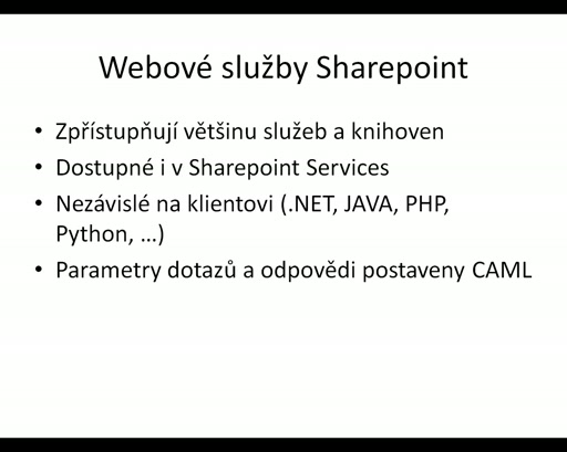 Sharepoint - webová služba Lists