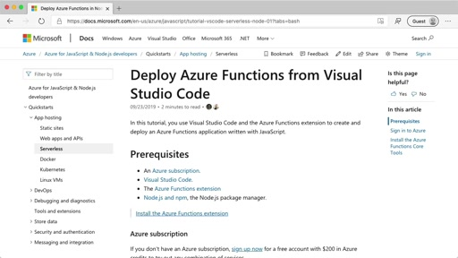 Deploy Azure Functions from Visual Studio Code