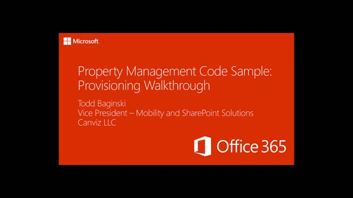 Property Management Code Sample: Provisioning Walkthrough Part 2