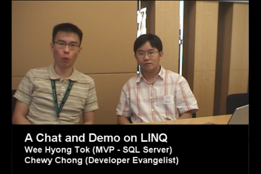 A Chat and Demo about LINQ with Wee Hyong (Singapore MVP – SQL)