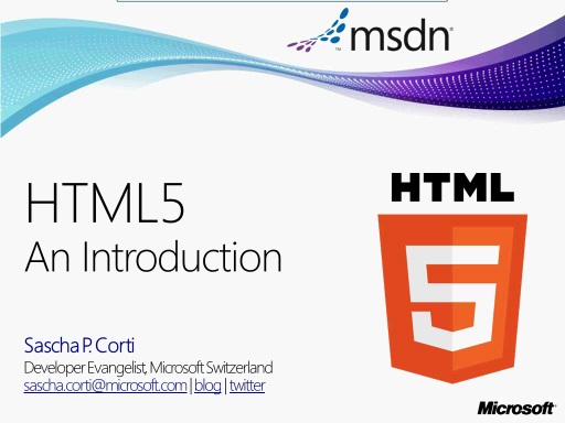 MSDN TechTalk: HTML5 - An Introduction