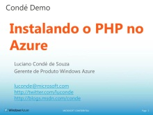 Conde Demo - Instalando o PHP no Windows Azure