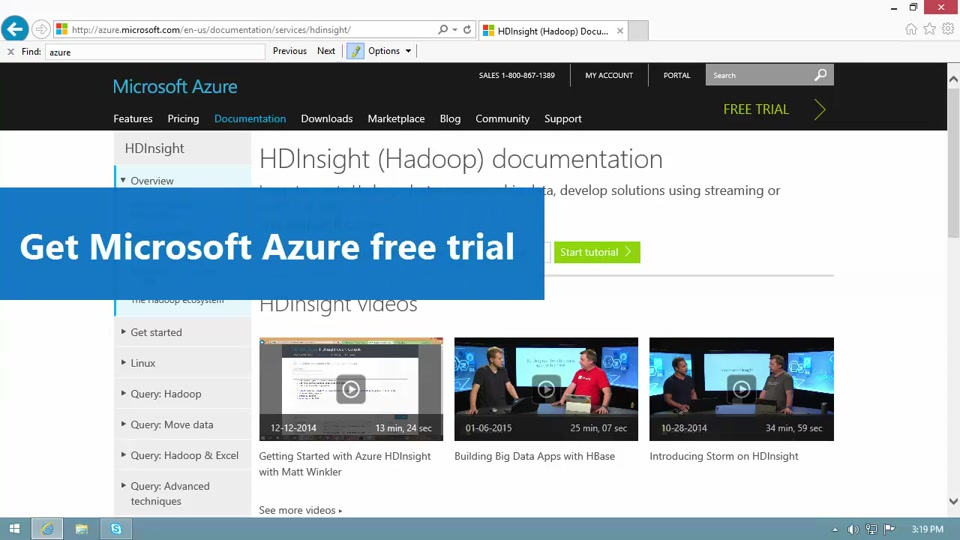 How to get Azure Free trial for testing Hadoop in HDInsight