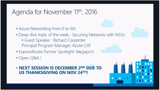 Azure Networking Fridays 11/11/2016