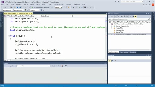 Programming Robotic Systems with Visual Studio: (03) Creating Your First Arduino Robot
