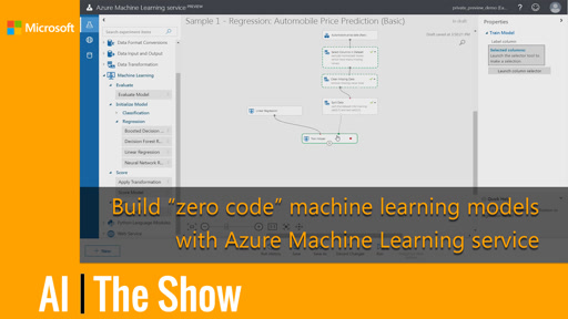 "Build ""zero code"" machine learning models with Azure Machine Learning service"