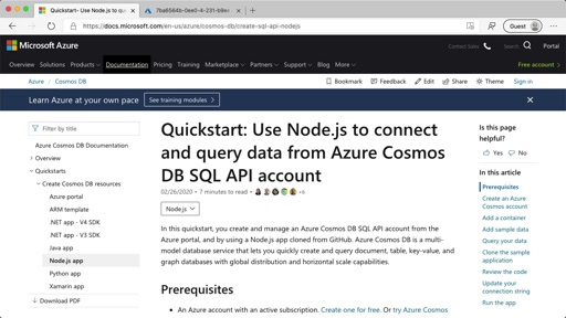 Quickstart: Use Node.js to connect and query data from Azure Cosmos DB SQL API account