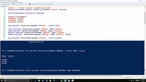Start Stop Restart and Delete VMs in Microsoft Azure with PowerShell