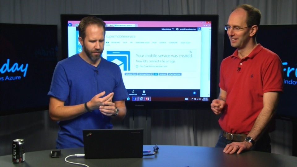 """Scott Guthrie explaining the Azure Mobile Services """"Backend In A Box"""""""
