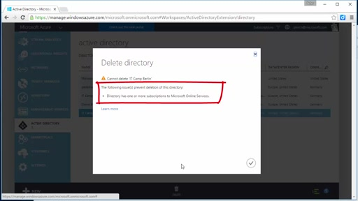 "Tipp: Azure Active Directory löschen trotz Fehler ""Directory has one or more subscriptions to Microsoft Online Services"""