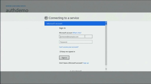 Windows Store app - Getting Started with Authentication in Windows Azure Mobile Services