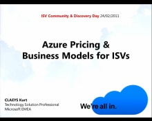 ISV Discovery day Azure Pricing and Business Models for ISVs