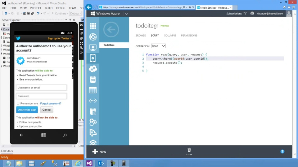 Windows Phone - Authenticate and Authorize users with Server Scripts in Windows Azure Mobile Services