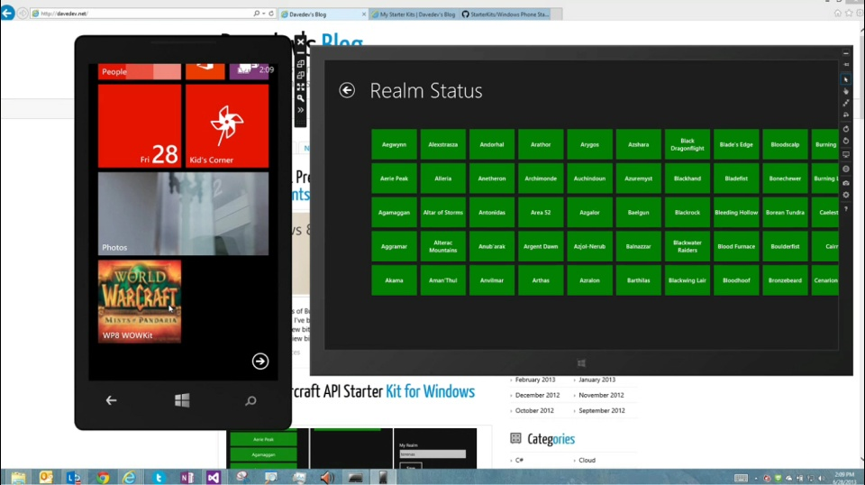 Microsoft DevRadio: (Part 9) APIMASH – World of Warcraft API Starter Kit for Windows Phone