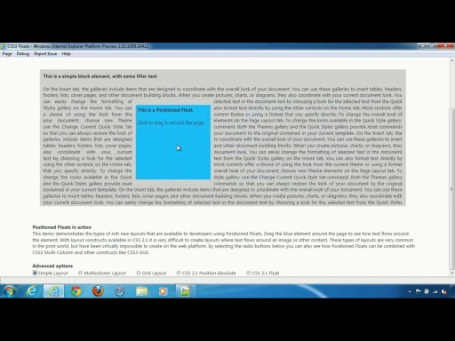 Internet Explorer 10 Platform Preview 2: A look at Positioned Floats in IE10
