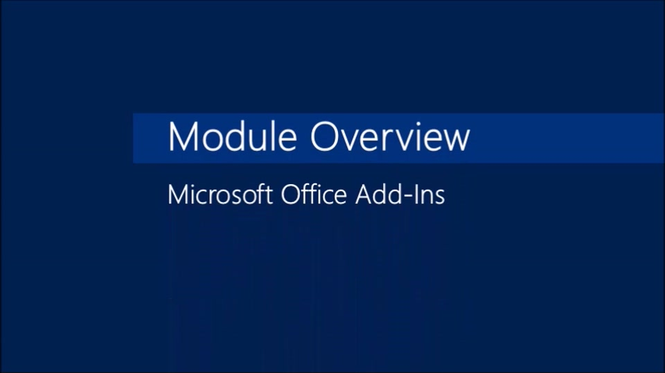 Module 04: Microsoft Office Add-Ins