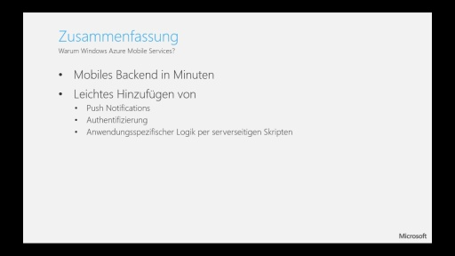 Tutorial - Windows Azure Mobile Services - Teil 5/5 Zusammenfassung und FAQ