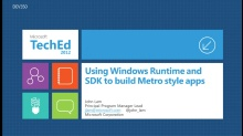 Using Windows Runtime and SDK to Build Metro style Apps