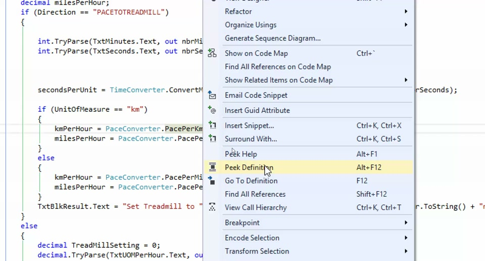 Visual Studio Tip: Peek Definition