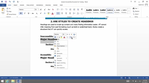 (Part 3) Creating Accessibility Documents:  Heading and Styles