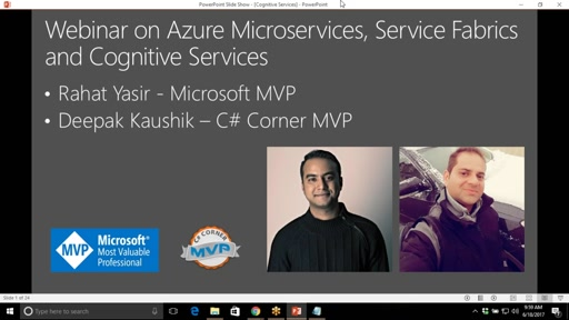 Webinar on Azure Microservices, Service Fabrics and Cognitive Services