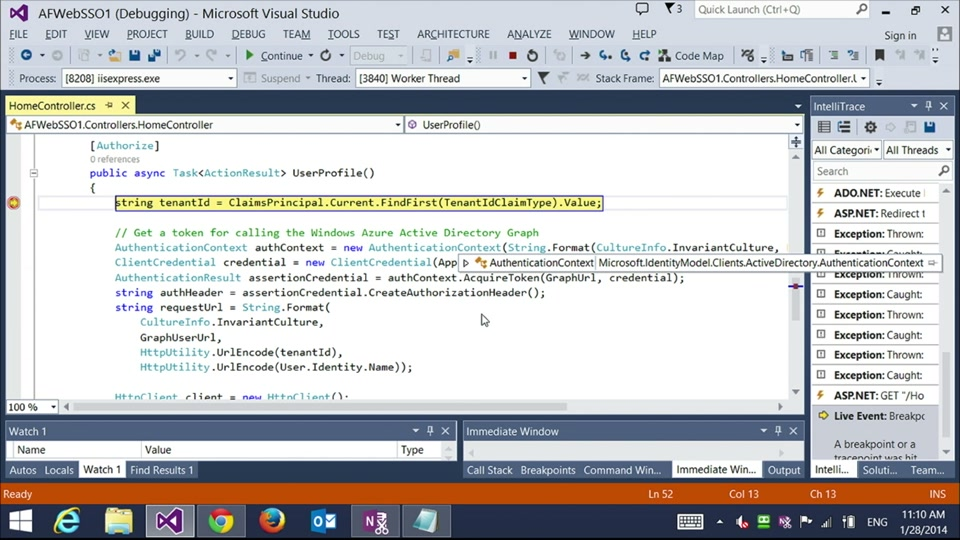 Azure Identity 105 - Vittorio extends our existing application to retrieve custom profile information from Windows Azure Active Directory