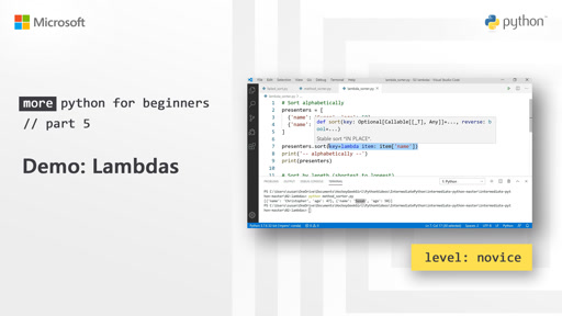 Demo: Lambdas | More Python for Beginners [5 of 20]