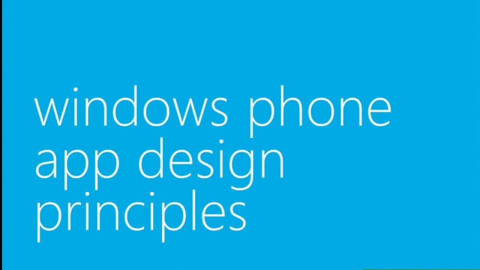 Windows Phone: Application UI Design Principles