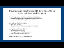 May 2011 Developer Dinner: Developing SharePoint 2010 Solutions Using External Data and Services