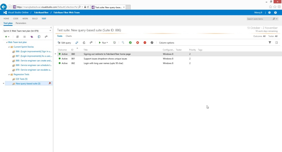 Test Planning with Test Hub on Visual Studio Online