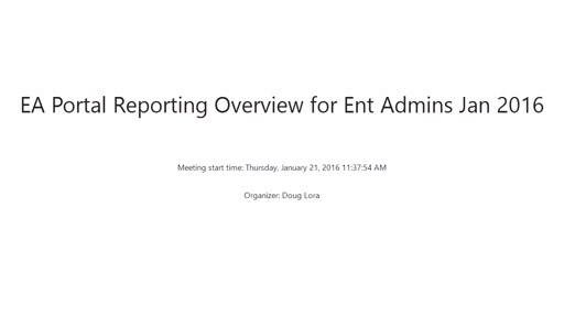 EA Reporting and Power BI Usage for Enterprise Admins
