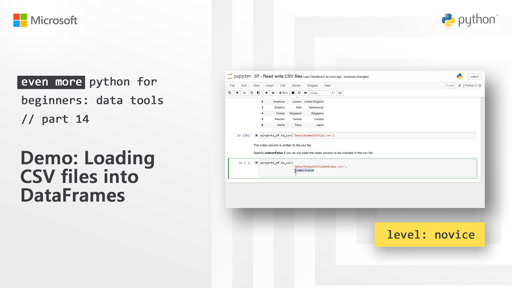 Demo: Loading CSV files into DataFrames    Even More Python for Beginners - Data Tools  [14 of 31]