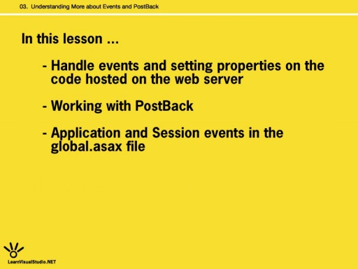 [Lesson 3:] Understanding More About Events and Postback