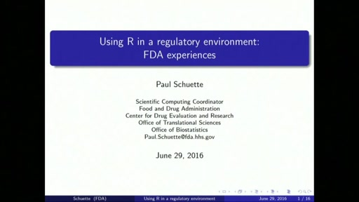 Using R in a regulatory environment: FDA experiences.
