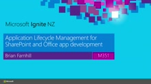 Application Lifecycle Management for SharePoint and Office365 app development