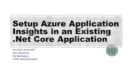 Setup #Aure Application Insights in an existing .Net Core Application