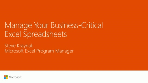 Manage your business-critical Excel spreadsheets