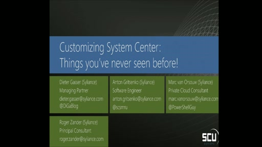 Sponsored Session SYLIANCE IT SERVICES - Customizing System Center - Things you've never seen before!