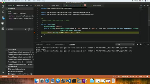 Debugging Java Azure Functions in Visual Studio Code
