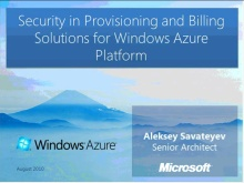 Security in Provisioning and Billing Solutions for Windows Azure Platform